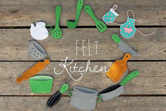 Felt kitchen tools, 1 pcs Choose your set, Felt stories