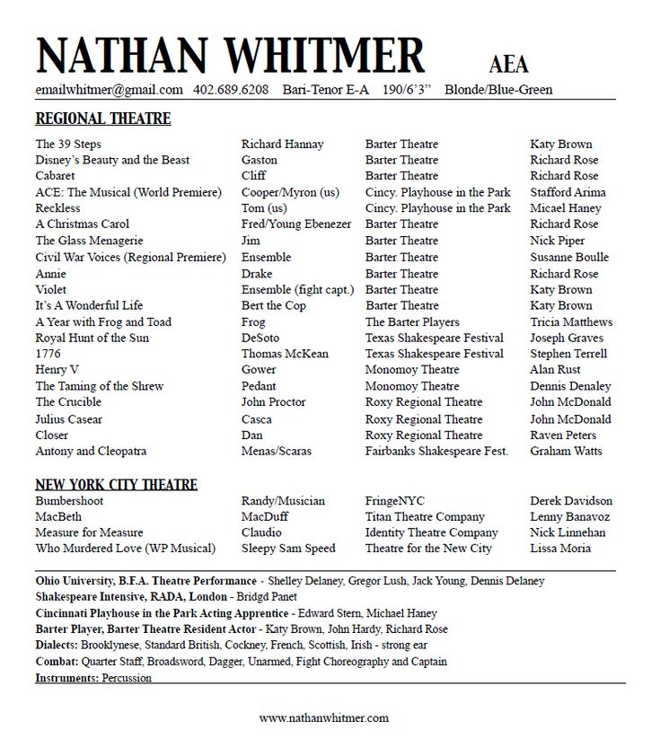 Acting Resume Nathan Whitmer \/ Actor, AEA acting class stuff - musical theater resume