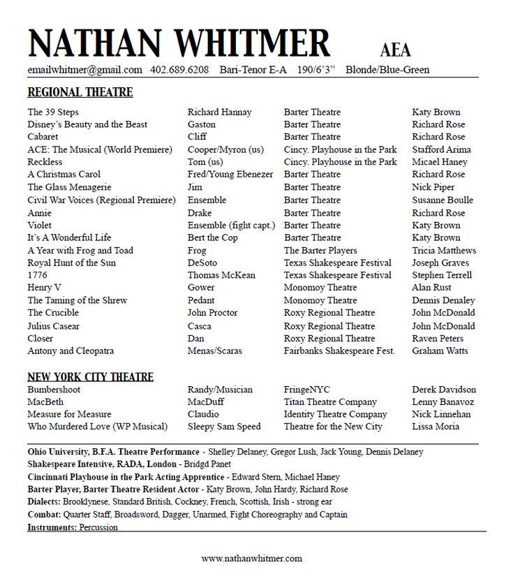 Acting Resume | Nathan Whitmer / Actor, AEA