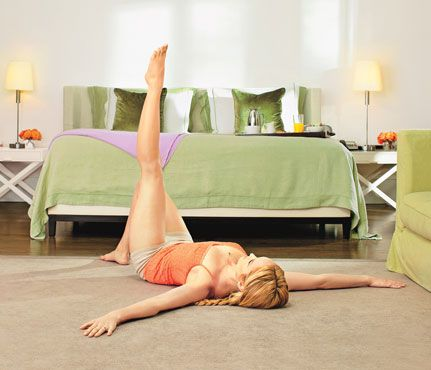 Killer Legs—No Gear Required! The 'Thigh Hover' move also works your back, abs, and hips #SelfMagazine