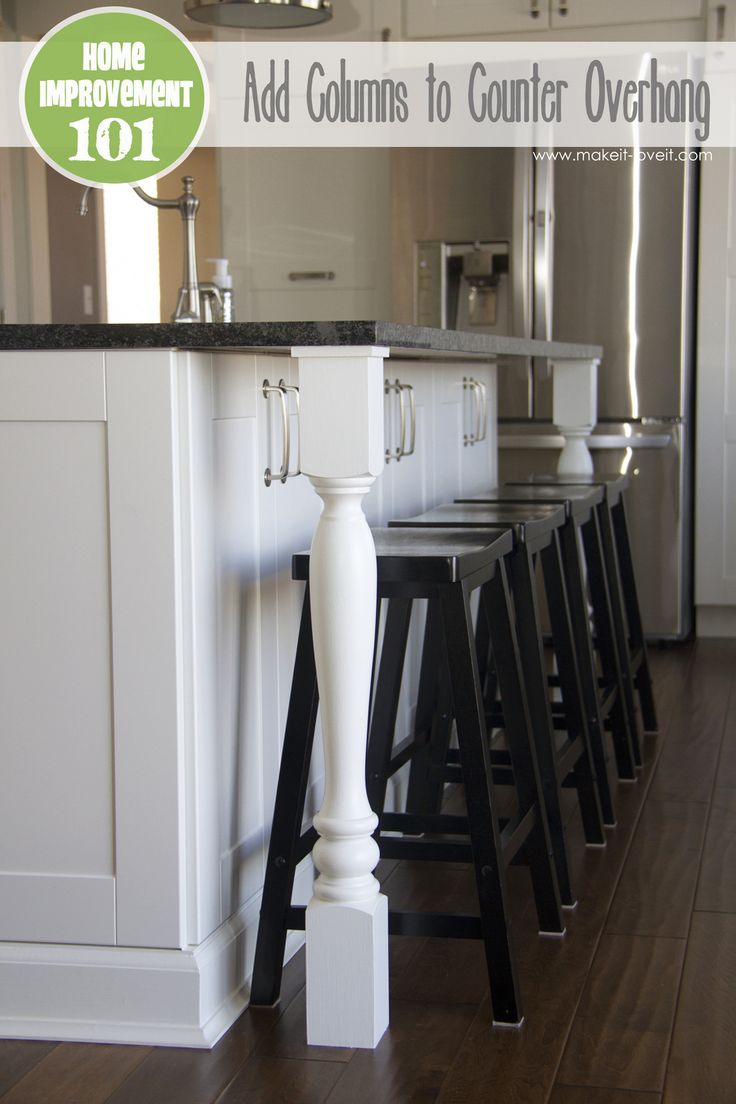 Home Improvement: Add column supports to your counter overhang. Super simple! www.makeit-loveit...