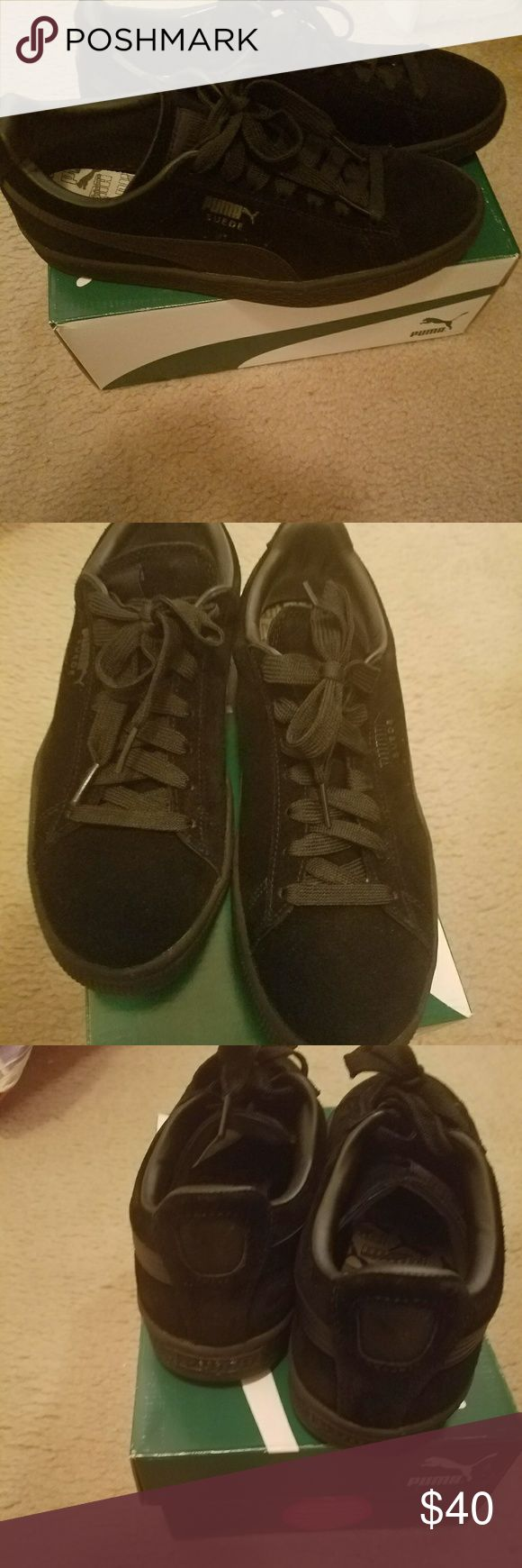Sneakers Black sueude pumas size 6.5 boys equal to 8.5 ladies  Worn 3 times...excellent condition. Puma Shoes Sneakers