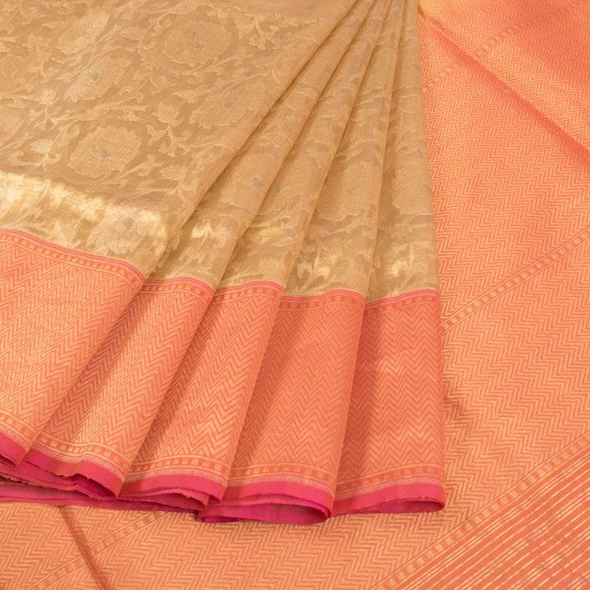 Handwoven Beige Banarasi Katrua Tissue Silk Saree With Jangla Design & Zig Zag Pallu 10014600 - AVISHYA.COM