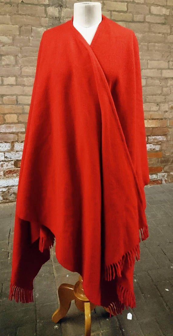 Vintage 70's red Cape wrap around Cape vintage summer