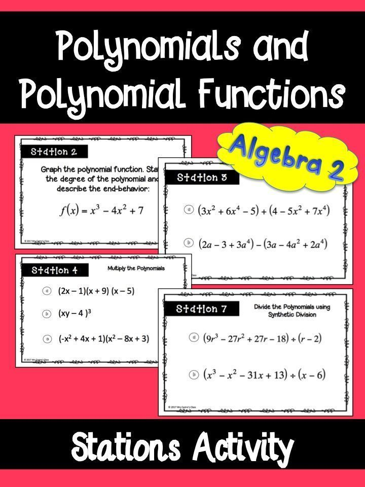 Polynomials and Polynomial Functions Stations Activity Math