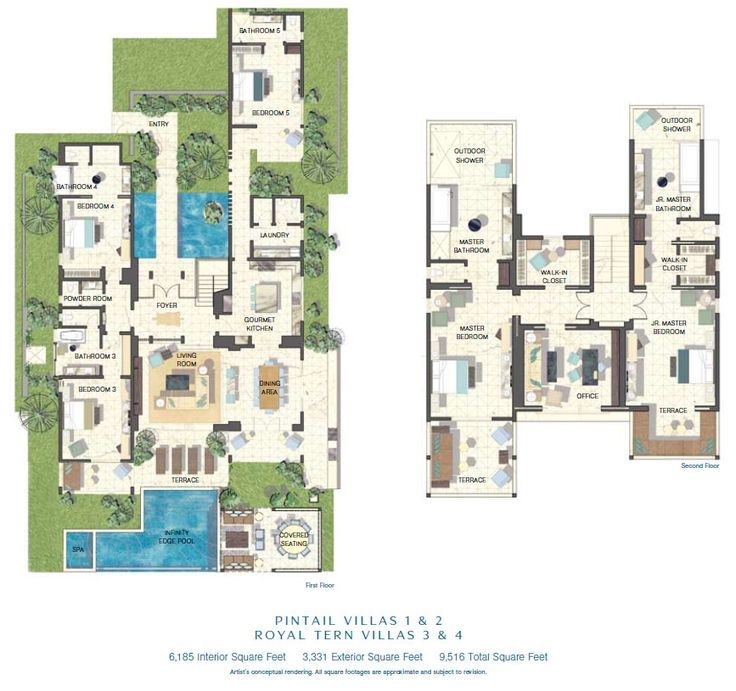 Luxury floor plans villas and floor plans on pinterest for 4 bedroom villa plans