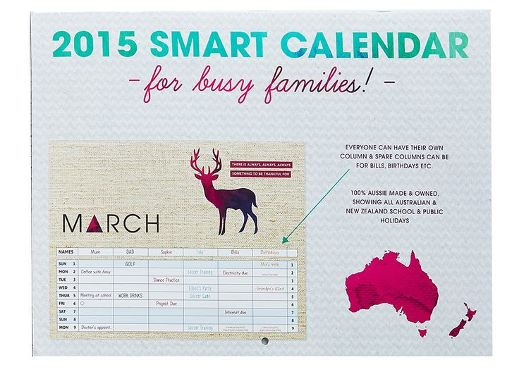 The 2015 Contemporary Style Family Organiser Calendar (stapled) is perfect for busy families. $15.99 - Includes free shipping within Australia. #2015 #calendar