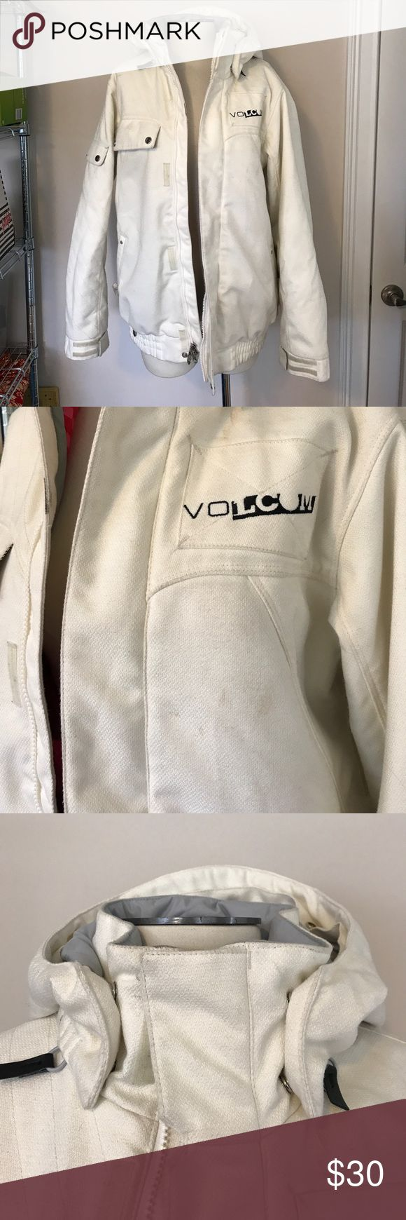 Volcom Snowboard Jacket Great winter and snowboard jacket. Does have some stains and marks but if you're looking for a really good snowboard jacket for cheap, this is killer!! No rips or tears, still has powder skirt as well. Missing fur for the hood. Volcom Jackets & Coats Puffers