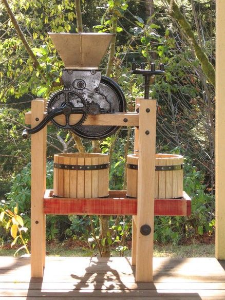 Vintage Cider Press Rebuild by Thinman -- Homemade rebuild of a vintage cider press involving replacement of the original wood with hickory. Finished with butcher block dressing. www.homemadetools...