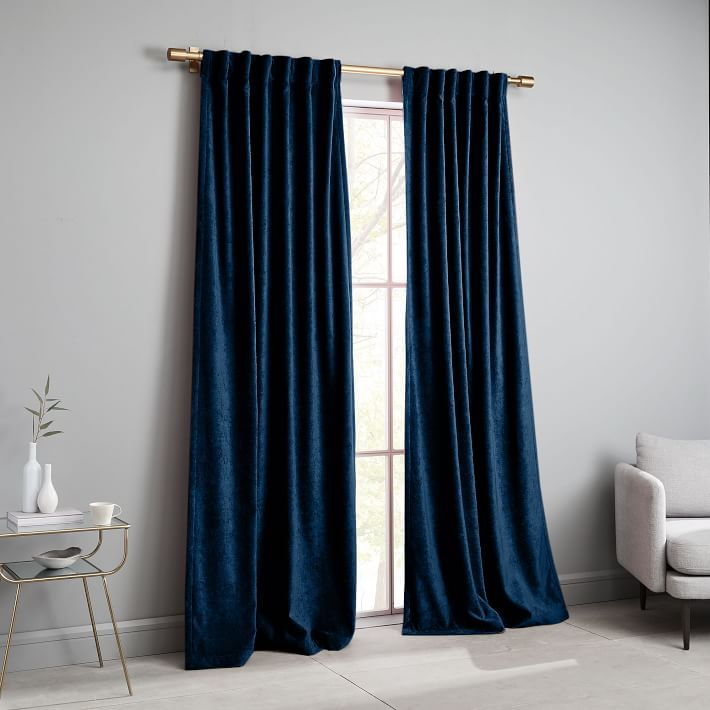 Worn Velvet Curtain Regal Blue In