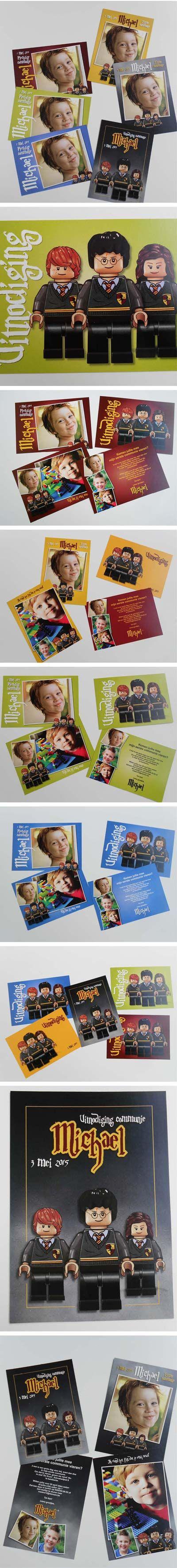 #lego #communiekaarten met harry potter. Bezorg foto's en tekst. Wij maken de communiekaartjes. Proef via e-mail. Na goedkeuring leveren we drukwerk.  http://www.kaartencollectie.be/nl/communiekaart-lego-harry-potter-1050.htm