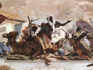 Affresco raffigurante il Continente africano, dipinto da Gian Battista Tiepolo nel 1753; Castello di Würzburg, Baviera.