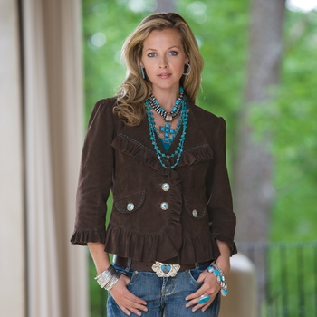"""great jewelry, jeans, belt, and hair.  i like the color of the jacket.  not sure that the ruffles would be so """"me"""", but i like it on her :): Combostyle Turquoise, Western Style, Outfit, Belt, Brown, Closet, Turquoise Jewelry, Cowgirl Style, Southwest Style"""