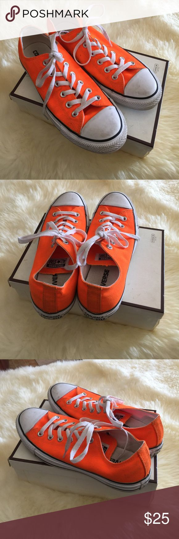 Converse neon orange Gently used, cleaning will hVe then looking like new. Converse Shoes Sneakers