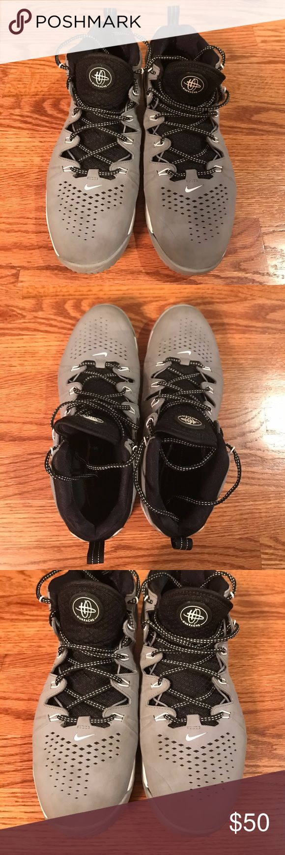 Men's Nike Huarache 4 Turf Shoes Nike Huarache Turf Shoes. White, black, and gray. Slight cuffing on toes, overall good condition! Nike Shoes Athletic Shoes