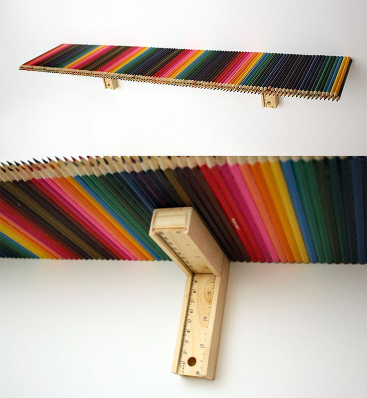 rainbow pencil shelf
