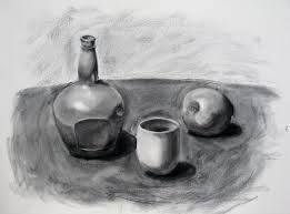 Simple objects and a lightly shaded background create depth with hatching, shading and shadowing.