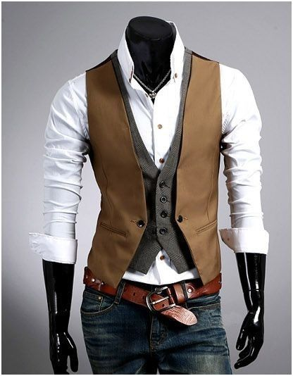 Looking for Men's Trendy Street Fashion? Check out this Men's Double Design Layered Look Vest that fits perfectly with a plain white shirt or any plain color shirt. Take $10 off ! No Coupon Require !