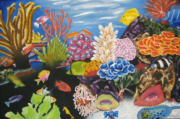 FINE PAINTING REPRODUCING THE REAL CORAL REEF, IN A WAY MORE CLOSE TO OUR IMAGINATION