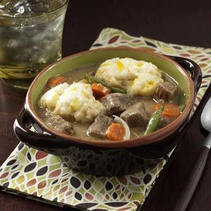 Beef Stew with Cheddar Dumplings - Supper tonight! But with moose rather than beef.