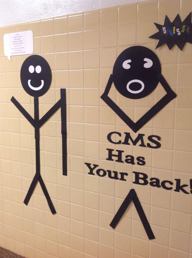 """Guidance office wall at CMS this fall!  The speech bubbles say """"STRESSED!"""" and """"You're in luck! CMS has compassionate counselors, trustworthy teachers, supportive staff, problem solving principals, solution-focused social workers and a nice nurse."""""""