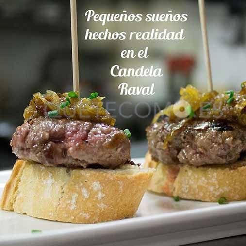 Tapa de solomillo de cerdo y cebolla caramelizada | Restaurante La Candela Raval en Barcelona