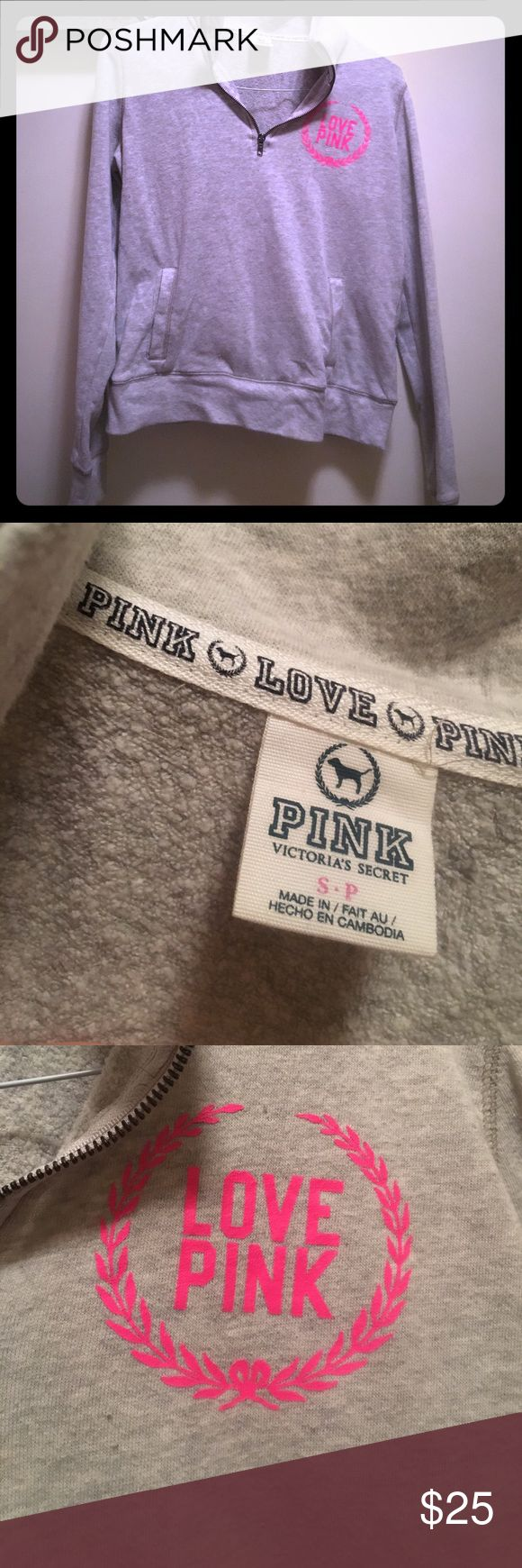 Pink grey zip up Worn a few times. Perfect with leggings. PINK Victoria's Secret Sweaters