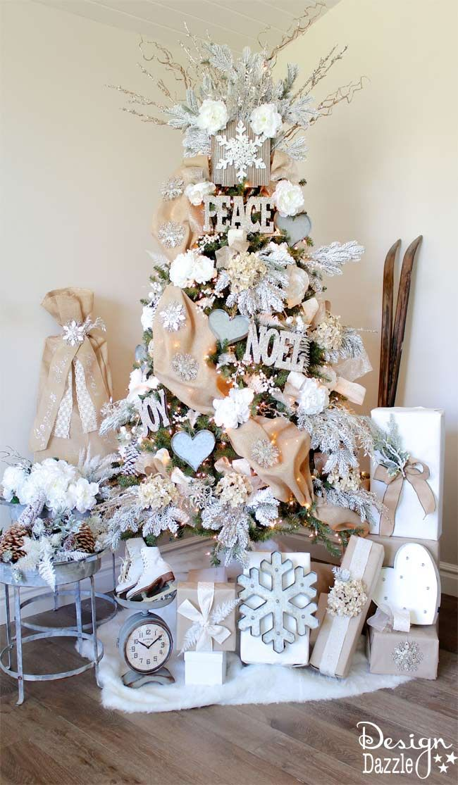 christmas treewinter wonderland glam christmas tree designed by toni roberts of design dazzle snow tipped branches gold hydrangeas white roses