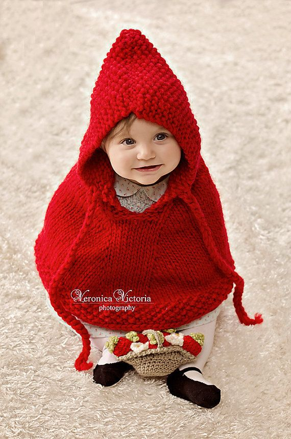 Hand Knit Red Baby Poncho Little Red Riding Hood Halloween