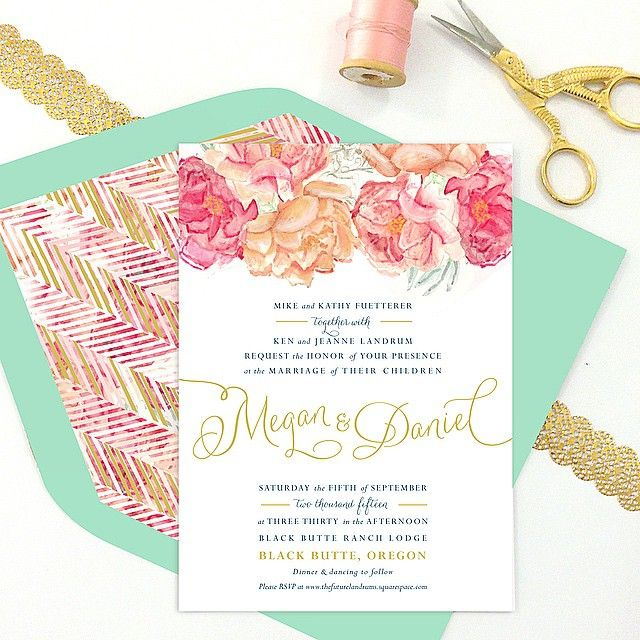 Painted Wedding Invitations With Watercolor Flowers From Tie That Binds In Portland Oregon