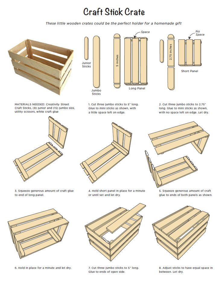 Craft Stick Crate Tutorial. Made with a few jumbo and mini sticks. Free PDF tutorial. #craftsticks #popsiclesticks
