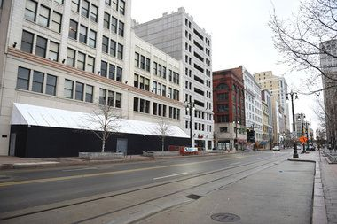 Construction barricades up at future Nike store location in Detroit - The Nike Community Store will occupy 22,000-square-feet of retail in downtown Detroit