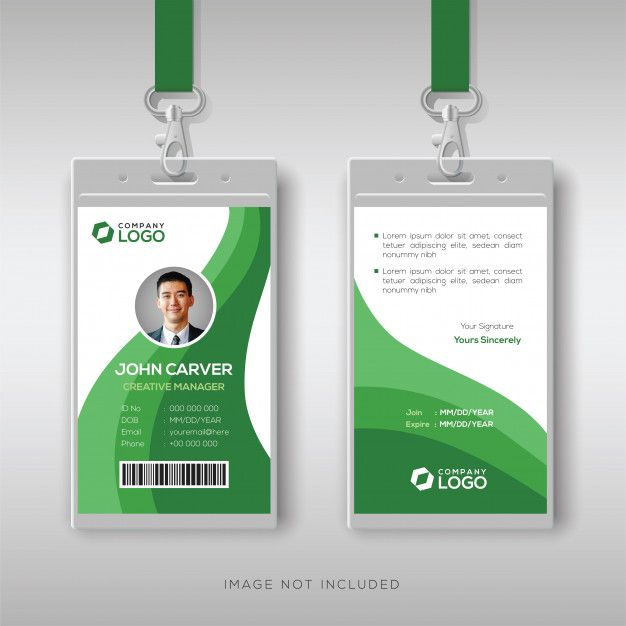 Abstract Id Card Template With Green Details Id Card Template Identity Card Design Free Printable Business Cards