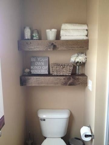 Diy 15 chunky wooden floating shelves toilets powder and wooden floating - Decoration toilette zen ...