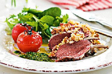 Lamb rack with macadamia crust & herb pesto
