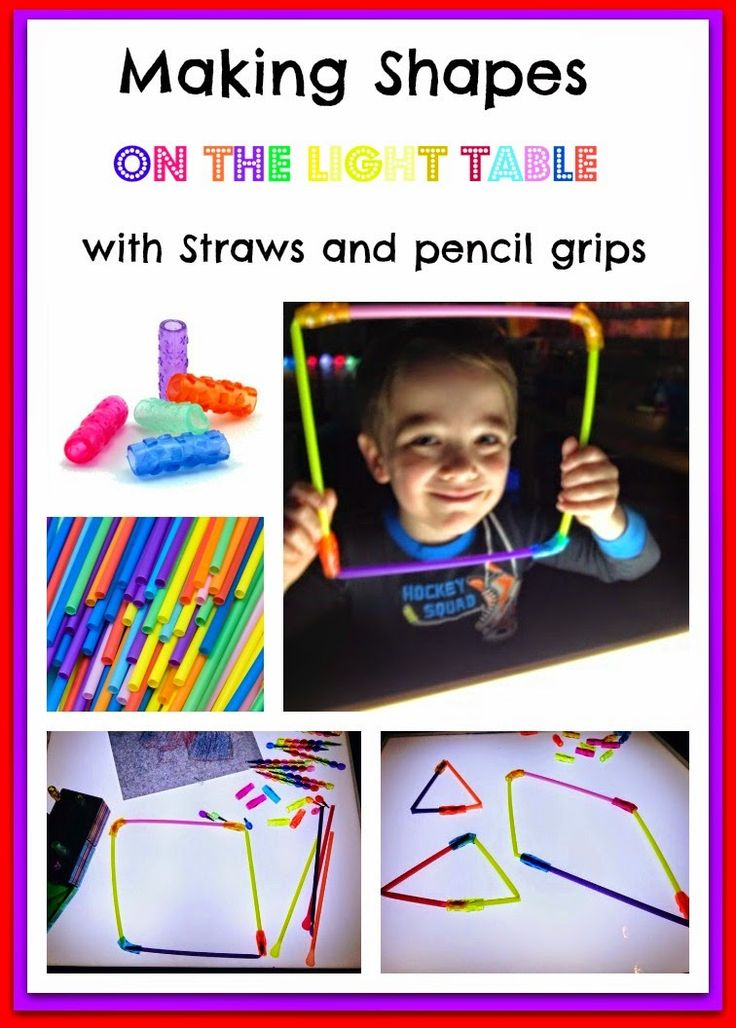Straws and pencil grips and light table fun!