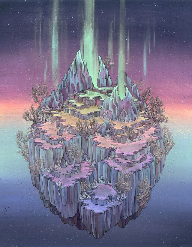 Floating around mysterious galaxies lie Nicole Gustafsson's futuristic ecosystems, angular planets that contain crystals, luminescent waterfalls, and alien plant life. These worlds, sometimes lit by t