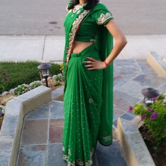 Green sari Unstitched blouse however it can be worn with a crop top Dresses