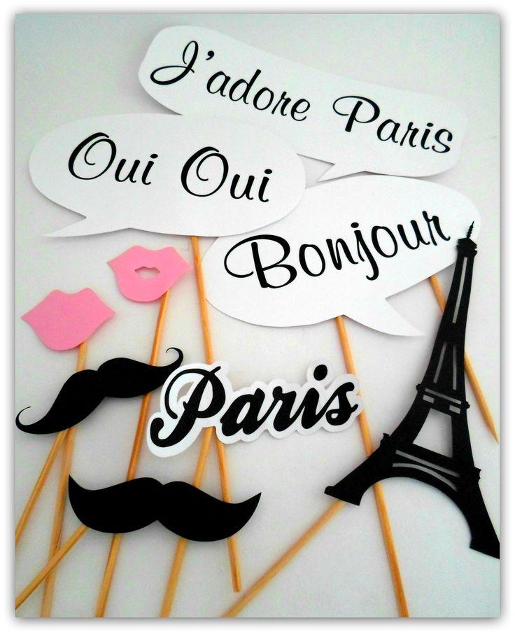 Props, Photobooth, Placas divertidas para fotografar. Paris, Torre Eiffel, beijo, bigode.
