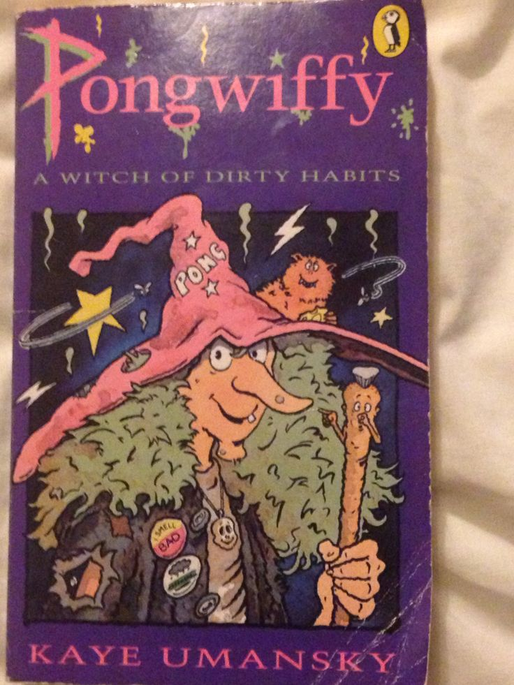 Pongwiffy. Borrowed it from the library, mum read it to me in the bath.