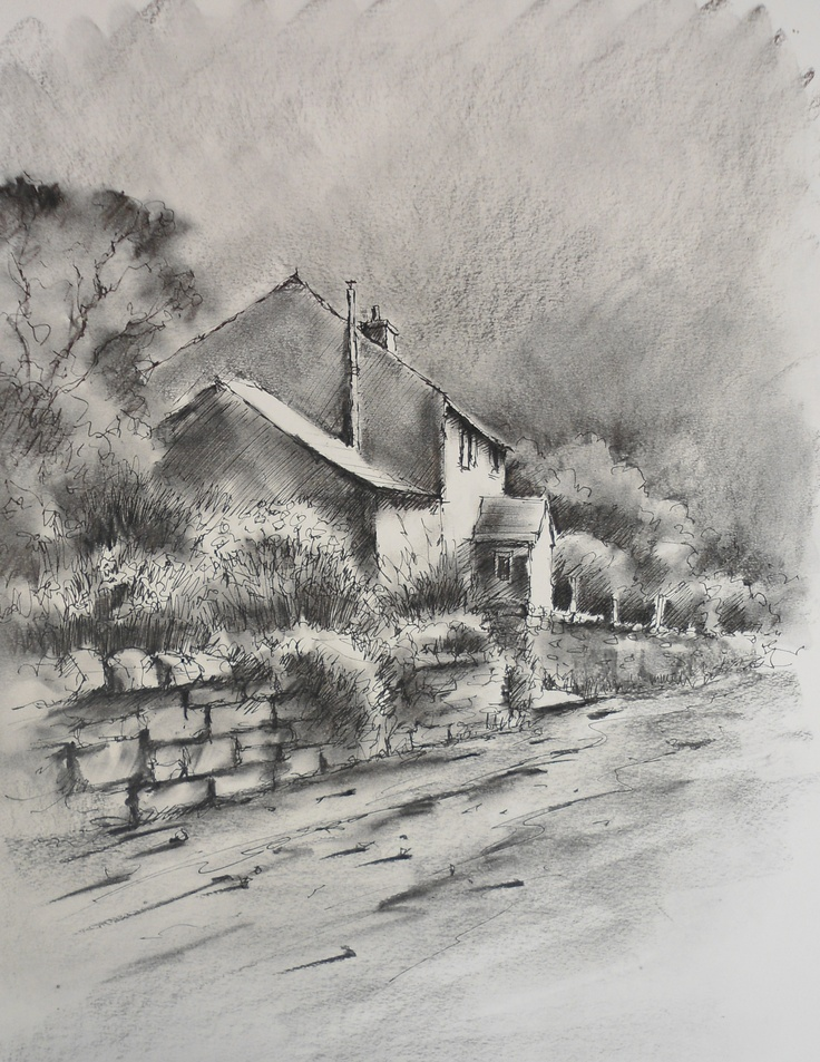 Yorkshire cottage: Charcoal video lesson by Joanne Boon Thomas available now on www.ArtTutor.com