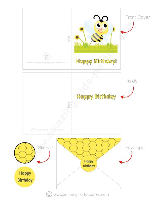 FREE Bee Greeting Card, Envelope & Sticker Set