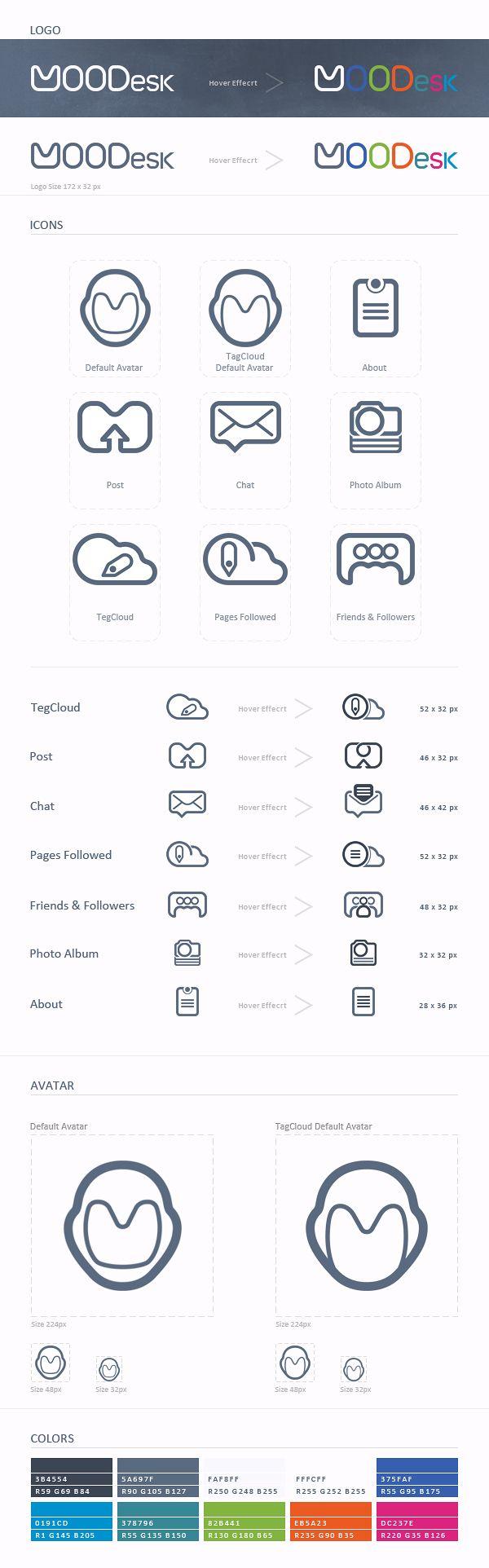 Social Platform  MOODesk - Design Icons by David T, via Behance