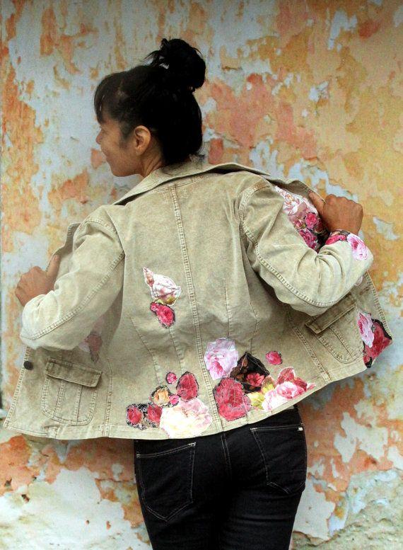 M.-L. Roses upcycled appliqued cordon veste hippie Bohème romantique