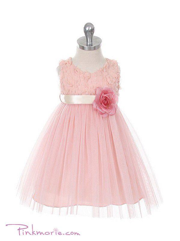 Infant pink blush flower girl dress