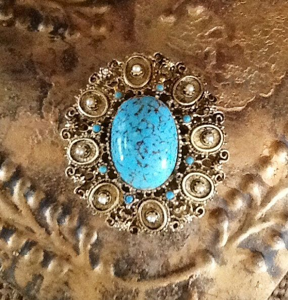 Vintage Faux Turquoise Brooch by 4Seas on Etsy, $25.00