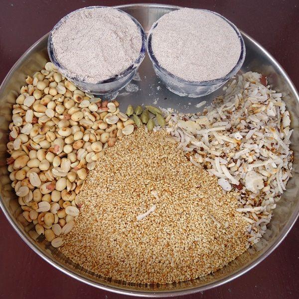 flour coconut jaggery sesame seeds for making ragi laddu recipe