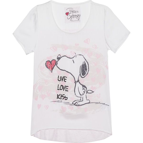 Princess Goes Hollywood Snoopy Live Love Kiss White Shortsleeve Top 95 Liked On Polyvore Featurin White Short Sleeve Tops Rose Shirts Rose Print Top