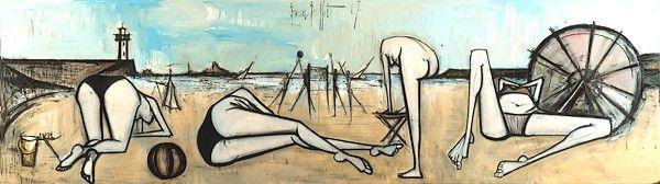 Bernard Buffet  Nus : Le volley-ball - 1967  oil on canvas 200 x 710 cm ©ADAGP