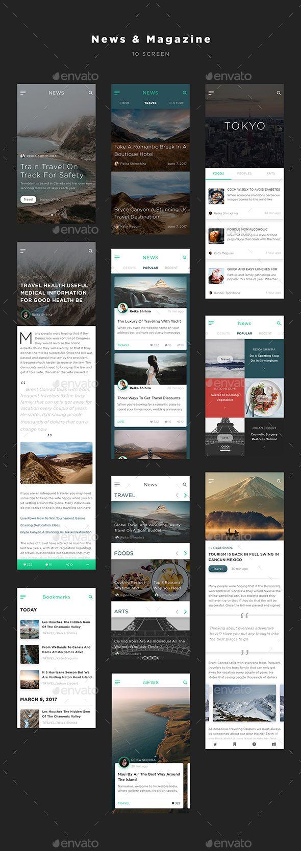 Mugen App UI KIT – News & Magazine - Template PSD